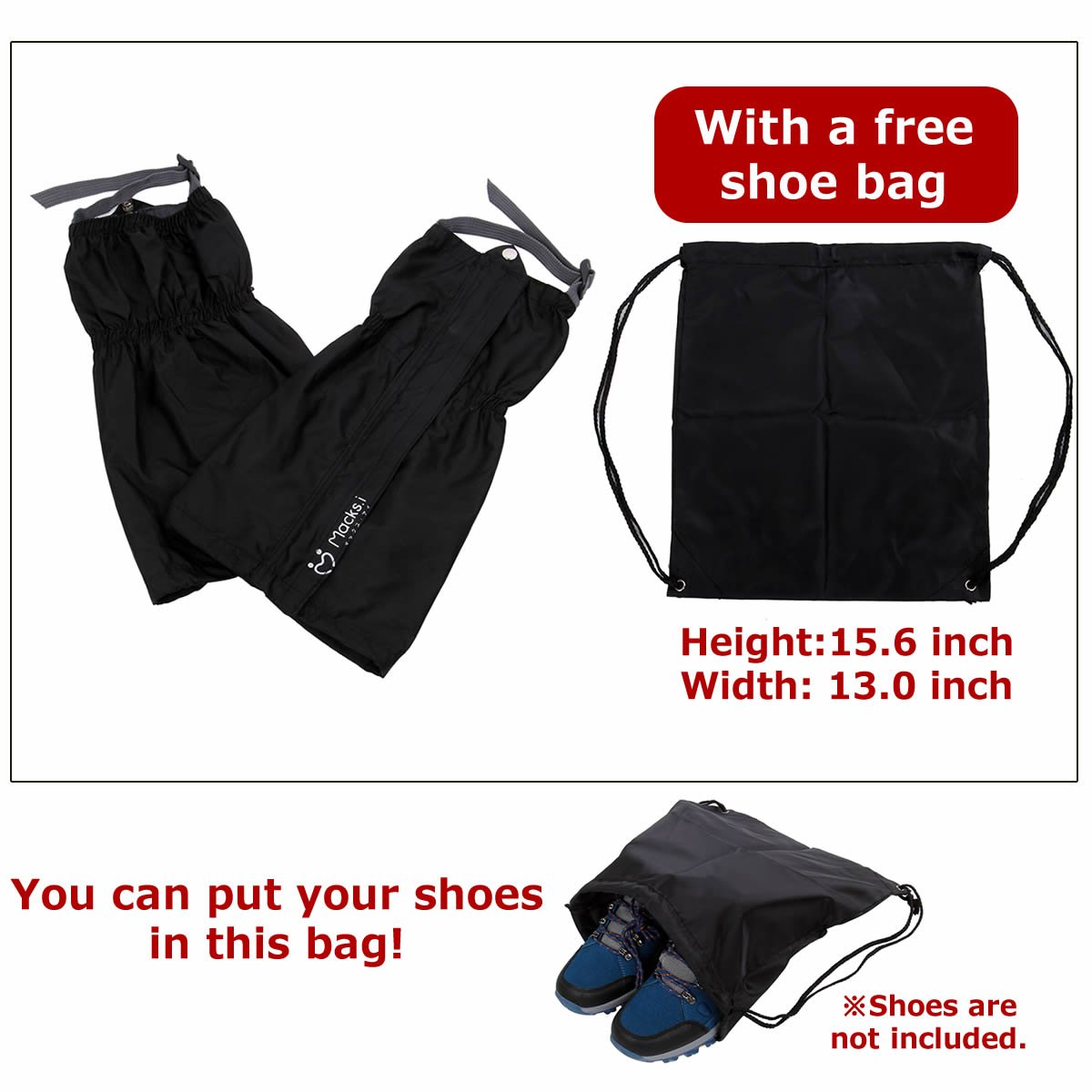 Macks.i Outdoor Unisex Waterproof Camping Hiking Gaiters High Leg Cover 1pair with a Free Shoe Bag by Macks.i (Image #6)