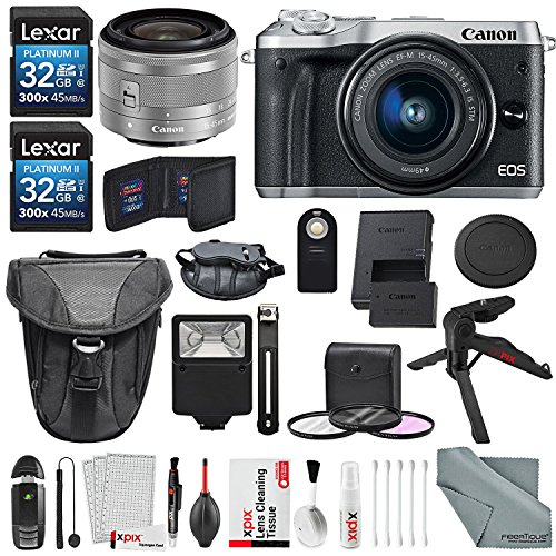 Canon EOS M6 Mirrorless Digital Camera with 15-45mm Lens Bundle with 2X 32GB + Flash + Remote + Tripod + Filters + Camera Case & Strap + Xpix Lens Accessories
