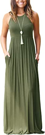 OURS Women's Casual Sleeveless Maxi Dresses Loose Floral Long Maxi Dresses with Pockets
