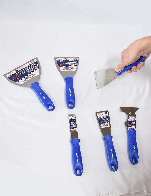 Juego de 6 cuchillos de masilla flexibles de acero al carbono con asas ergon/ómicas de pl/ástico Rottweiler