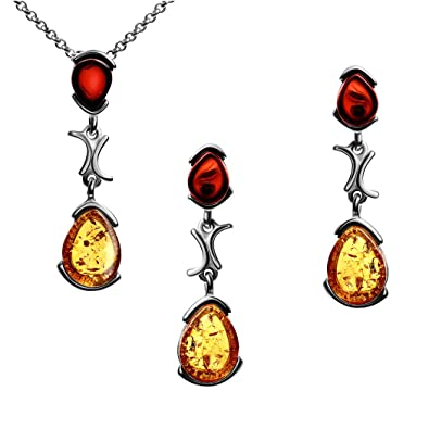 Amber Sterling Silver Oval Earrings Pendant Necklace Set Chain 46 cm xYJXQ