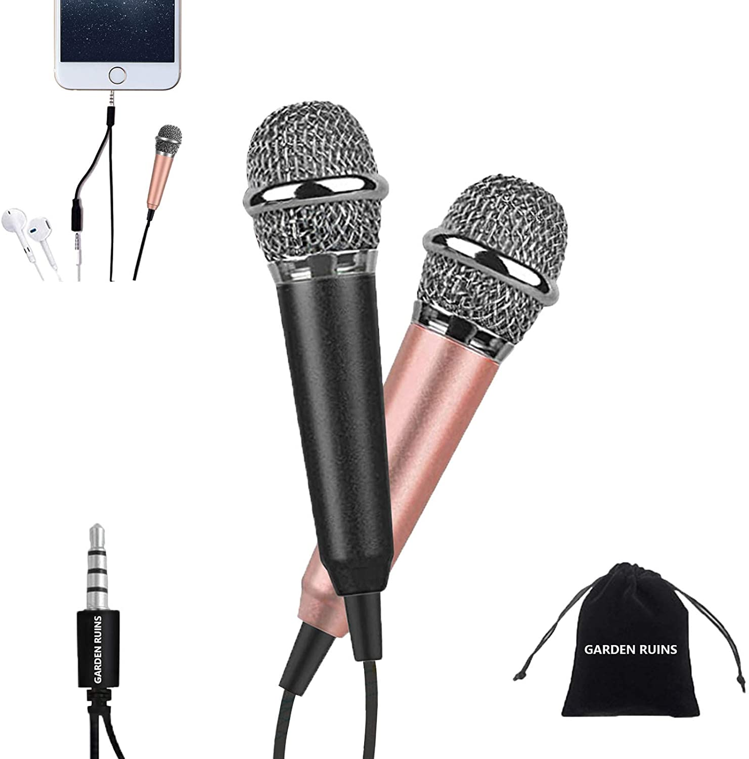 Mini Microphone, Karaoke Microphone, Asmr Microphone, Small Microphone for Singing, Recording and Listening to Songs, for Portable Laptop/Apple Samsung Android (Black&Rose Gold)