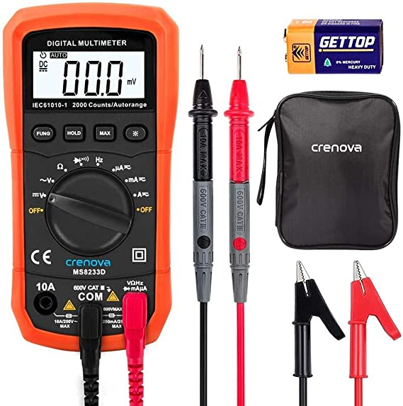 Crenova MS8233D Auto-Ranging Digital Multimeter Home Measuring Tools with Backlight LCD Display