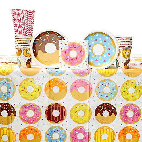 - Donut Time! Donut Themed Party Supplies Pack for 16 Guests | 24 Paper Straws, 16 Paper Dessert Plates, 16 Paper Beverage Napkins, 16 Paper Cups, and 1 Table Cover | Donut Birthday Party Decorations