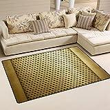 XiangHeFu Area Rugs Doormats Golden Metal Template 5'x3'3 (60x39 Inches) Non-Slip Floor Mat Soft Carpet for Living Dining Bedroom Home