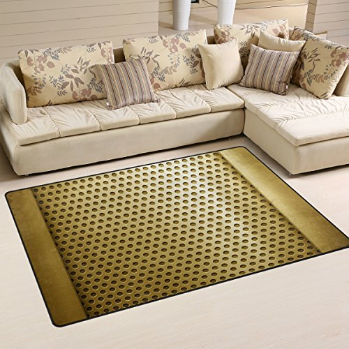 XiangHeFu Area Rugs Doormats Golden Metal Template 5'x3'3 (60x39 Inches) Non-Slip Floor Mat Soft Carpet for Living Dining Bedroom Home by XiangHeFu