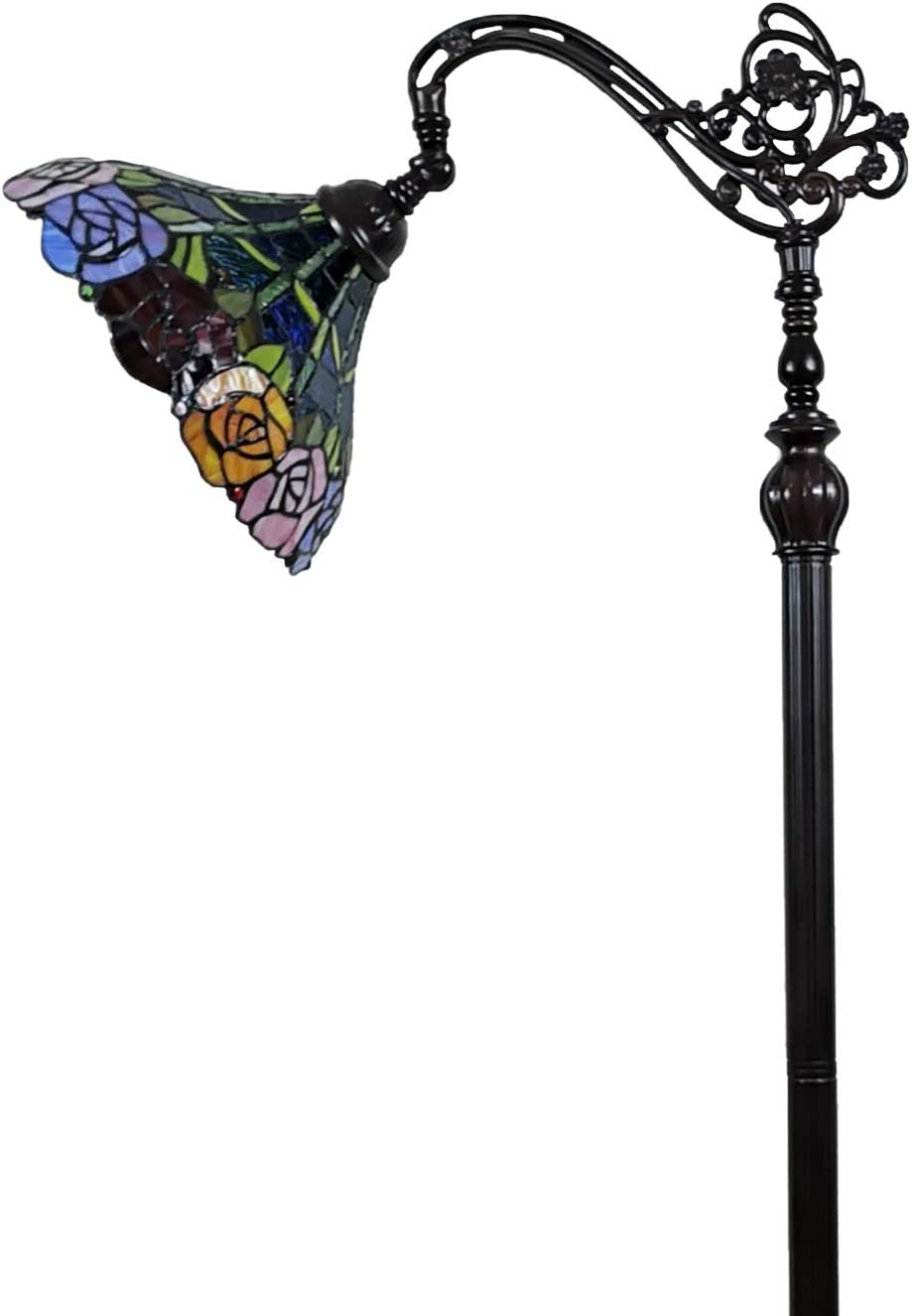 Tiffany Style Floor Lamp Arched Standing 62 Tall Stained Glass Red Yellow Green Rose Flower Antique Vintage Light Decor Bedroom Living Room Reading Gift AM035FL12B Amora Lighting, Multicolored