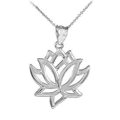 Amazoncom 925 Sterling Silver Lotus Flower Pendant Necklace 16