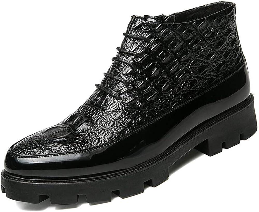 CHENJUAN Zapatos Botas de Tobillo para Hombres Moda Casual Vaquera Alto-Top Tatuaje de cocodrilo Tendencia Cuero Formal Zapatos
