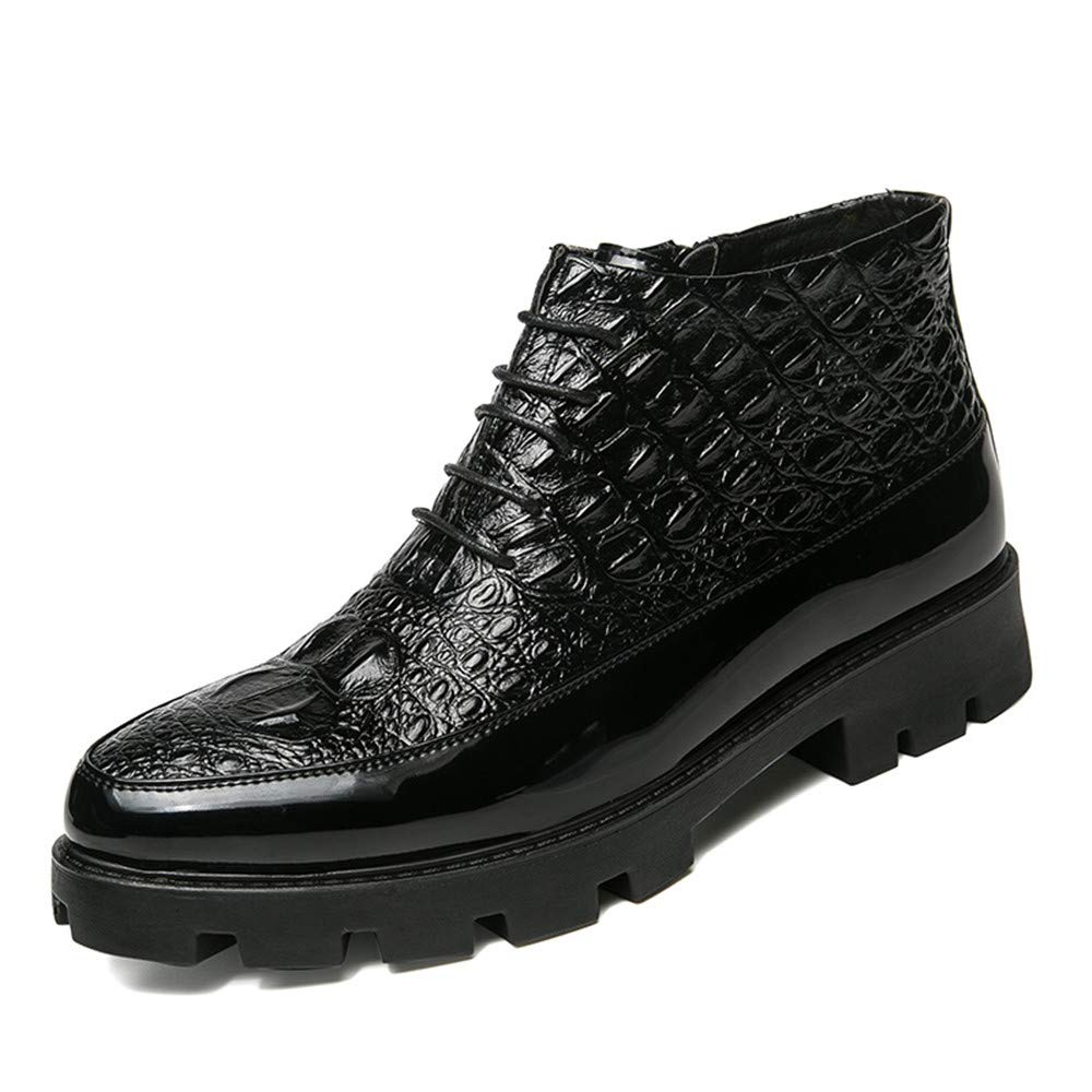 Hilotu Clearance Fashion Men's Ankle Boots Casual Avant-Garde High-Top Crocodile Tattoo Trend Patent Leather Formal Shoes (Color : Black, Size : 9 D(M) US)