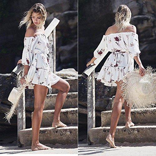 Robe Blanc Casual Robe Cou Robe Ulanda Sexy Imprim Cocktail de Court Robe Mini Boho EU Slash D't Quart Party Femme Floral Plage Robe Trois Femme Femme Decontracte R44F5qA