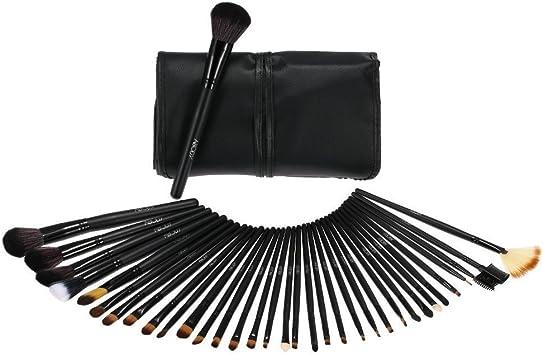 Anself 35uds Brochas de maquillaje de madera negras, kit de pinceles profesionales cosméticos set + bolsa funda: Amazon.es: Belleza