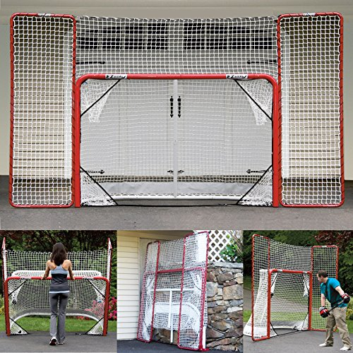 (EZGoal Hockey Folding Pro Goal with Backstop and Targets, 2-Inch, Red/White)