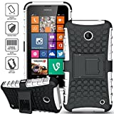 ElBolt 3 in 1 Bundle Nokia Lumia 635 / Nokia Lumia 630 Armor Grenade Stand Hard Gel Case - White with Free Ultra-Sensitive Stylus Pen and Premium Screen Protector by BeautyCentral TM