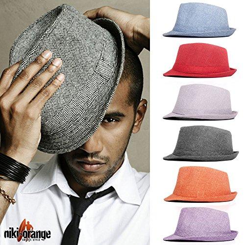 niki-orange® Callum Fedora Trilby Hut Hat Cap Schwarz Grau Beige Braun Rot (one size, Rot)