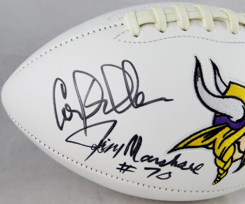 Purple People Eaters Autographed Minn Vikings Logo Football JSA Authenticated