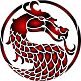 """Stencils for Walls - Dragons Head Stencil - (size 3.25""""w x 3.25""""h) Reusable Oriental Asian Dragon Stencils for Painting - Use on Walls, Floors, Fabrics, Glass, Wood and More…"""