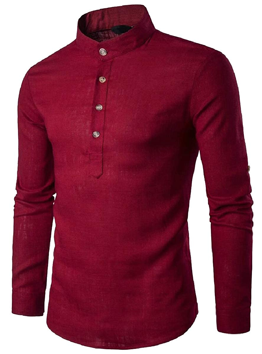 Xswsy XG Mens Basic Slim Henley Neck Linen Shirts Solid Long Sleeve T Shirts