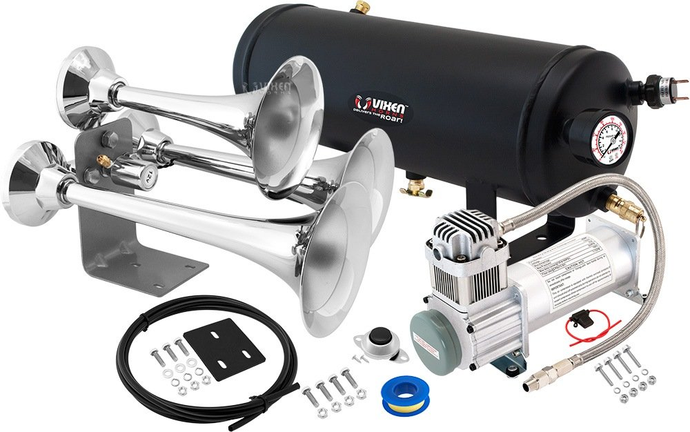 Vixen Horns Loud 152dB 3/Triple Chrome Trumpet Train Air Horn with 1.5 Gallon Tank and 200 PSI Compressor Full/Complete Onboard System/Kit VXO8315/3318