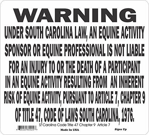 (South Carolina State Equine Warning Sign)