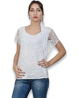 9f26994ea7b98 Tunique Femme sans Manche de Couleur Blanche - Tunique Femme Col Rond Taille  Unique