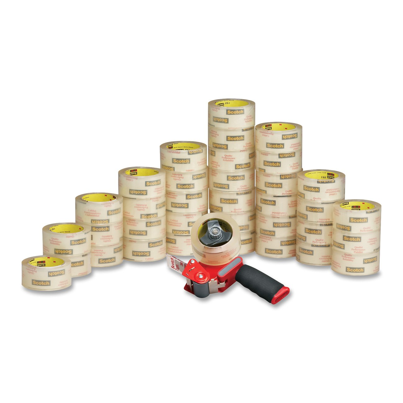 Scotch Commercial Grade Shipping Packaging Tape, 1.88 in x 54.6 yd, Case Value 36-Pack with 1 Free ST-181 Dispenser (3750-CS36ST)