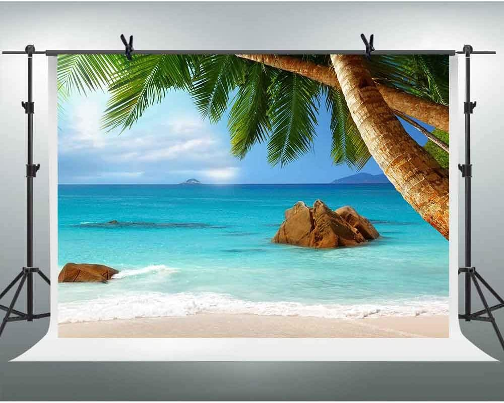 FHZON 10x7ft Tropical Beach Photography Backdrops White Cloud Blue Sky Sea Coconut Tree Background Holiday Travel Theme Party Photo Booth Props PFH566