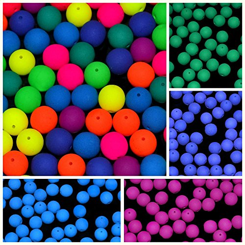 150pcs Set of Czech Glass Round Pressed Beads 8mm ESTRELA NEON (UV Active) 4 dark colors+MIX
