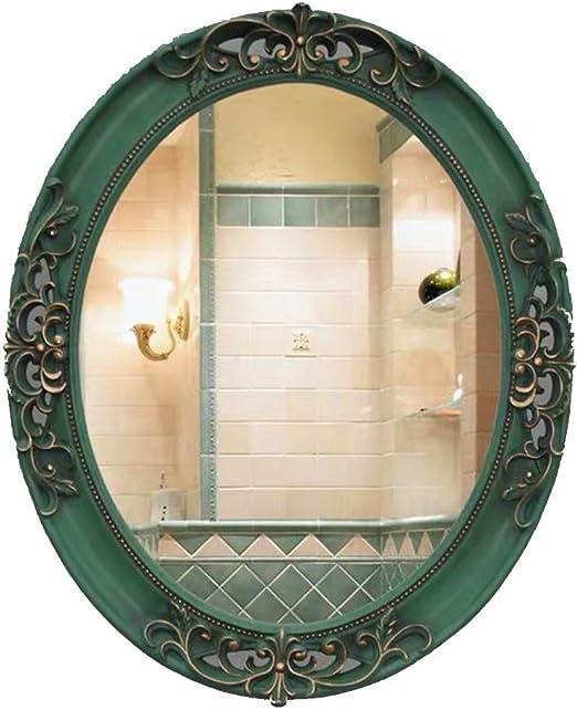 Amazon Com Ygo Oval Bathroom Mirror European Retro Wall Mirror Vanity Mirror For Bedroom Dressing Mirror Frp Waterproof Color Green Home Kitchen