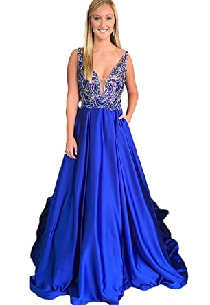 23869e09a74c Amazon.com: HerDress Women's Sexy Open Back V-Neck Long Royal Blue Prom  Dresses A-line Crystal Beaded Formal Evening Party Gowns 2018 New: Clothing