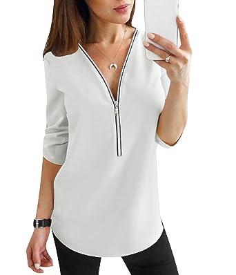 outlet store 03529 01e2c Camicia Donna Camicette Chiffon Oversize Camicie Manica ...