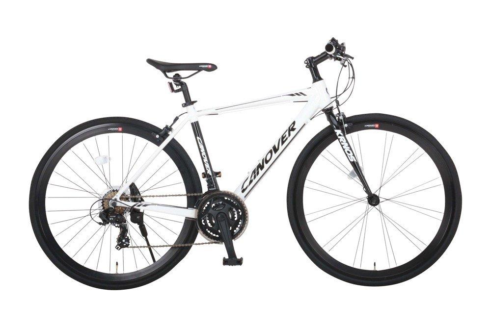 CANOVER(カノーバー) クロスバイク 700C アルミフレーム シマノ21段変速 CAC-027-DC (ATENA) 適応身長:160cm以上 LEDライト 1年保証 B07FGG6KJ8ホワイト