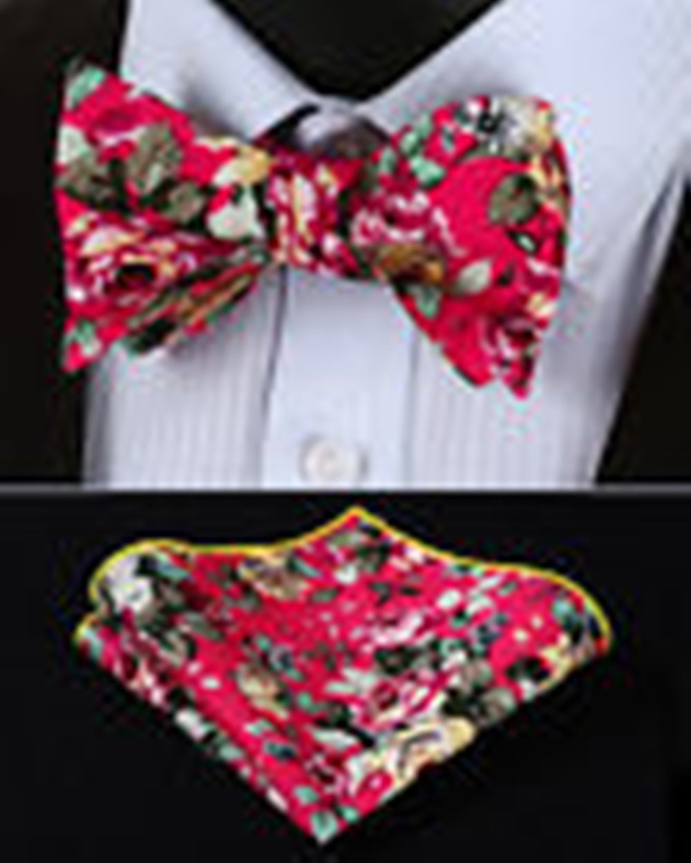 Mondaily DL403K Pink Yellow Floral Men Cotton Self Bow Tie Pocket Square set #PPTE4525
