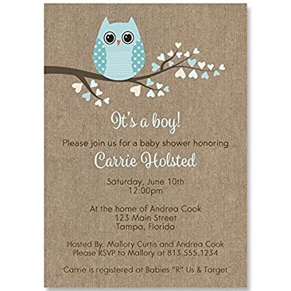 Amazon owl baby shower invitations baby boy aqua blue owl baby shower invitations baby boy aqua blue burlap kraft filmwisefo