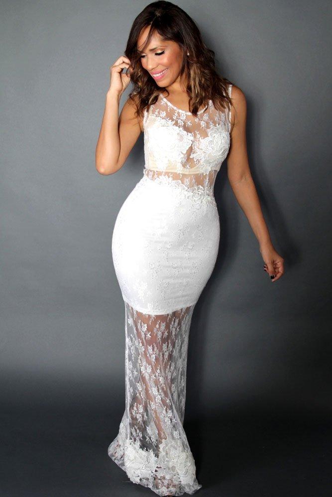 Nuevo Blanco transparente encaje largo vestido de cóctel vestido de noche vestido de prom Party Wear vestidos de novia tamaño UK 8 - 10: Amazon.es: Deportes ...