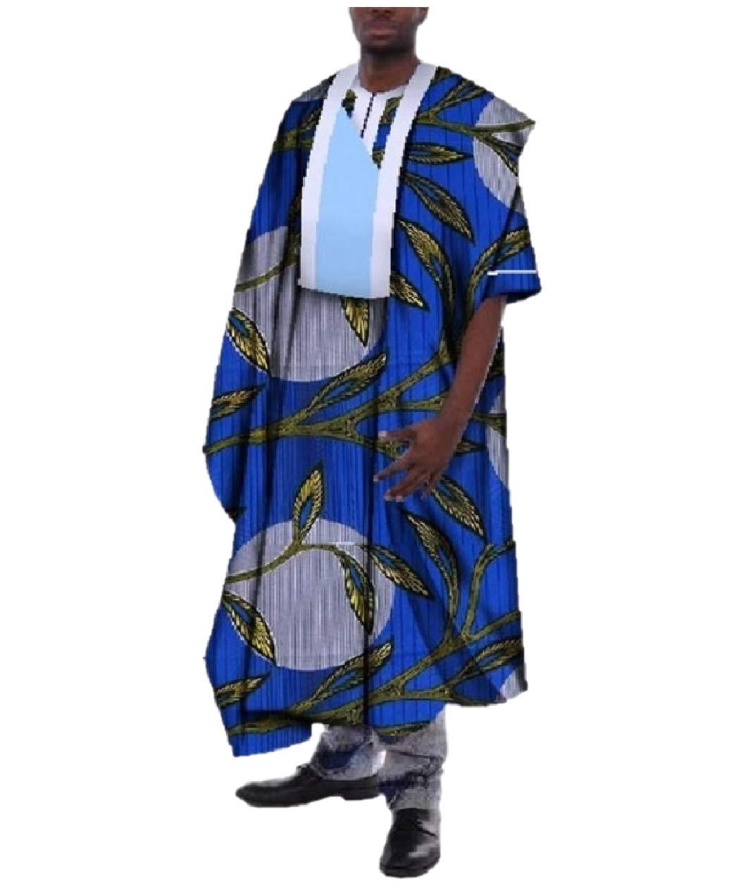 Tootless Men Premium Dashiki African Printed Ankle Length Back Cotton Robe Dark Blue 5XL
