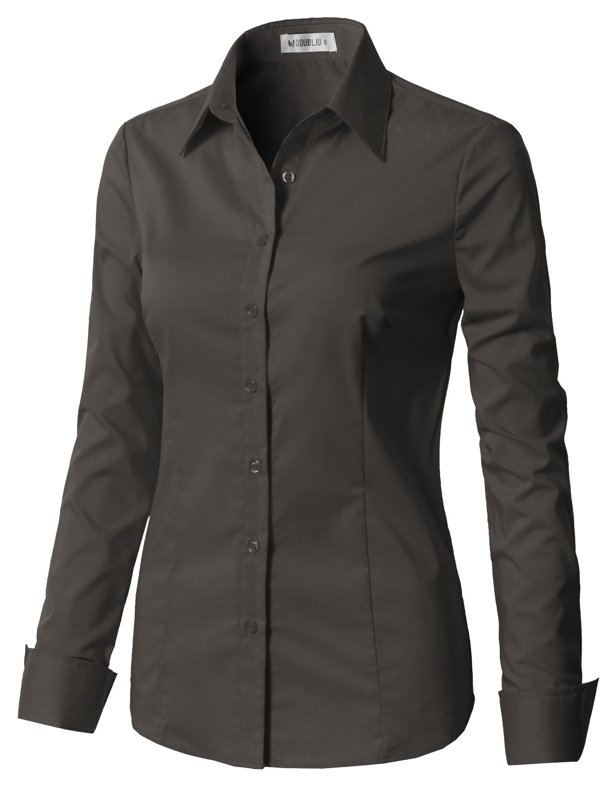 CLOVERY Women's Basic Stretchy Long Sleeve Slim Fit Button Down Collared Shirt Charcoal L