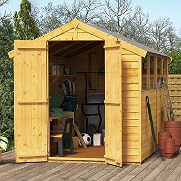 BillyOh Keeper. Cobertizo de madera con ventana, paneles superpuesto para almacenamiento de 2, 43 x 1, 82 m.: Amazon.es: Jardín