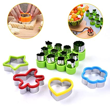 Apark Vegetable Animal Cartoon Cutters Shapes Set,Mini Cutters Shape,Cookie Cutters stamps Pie