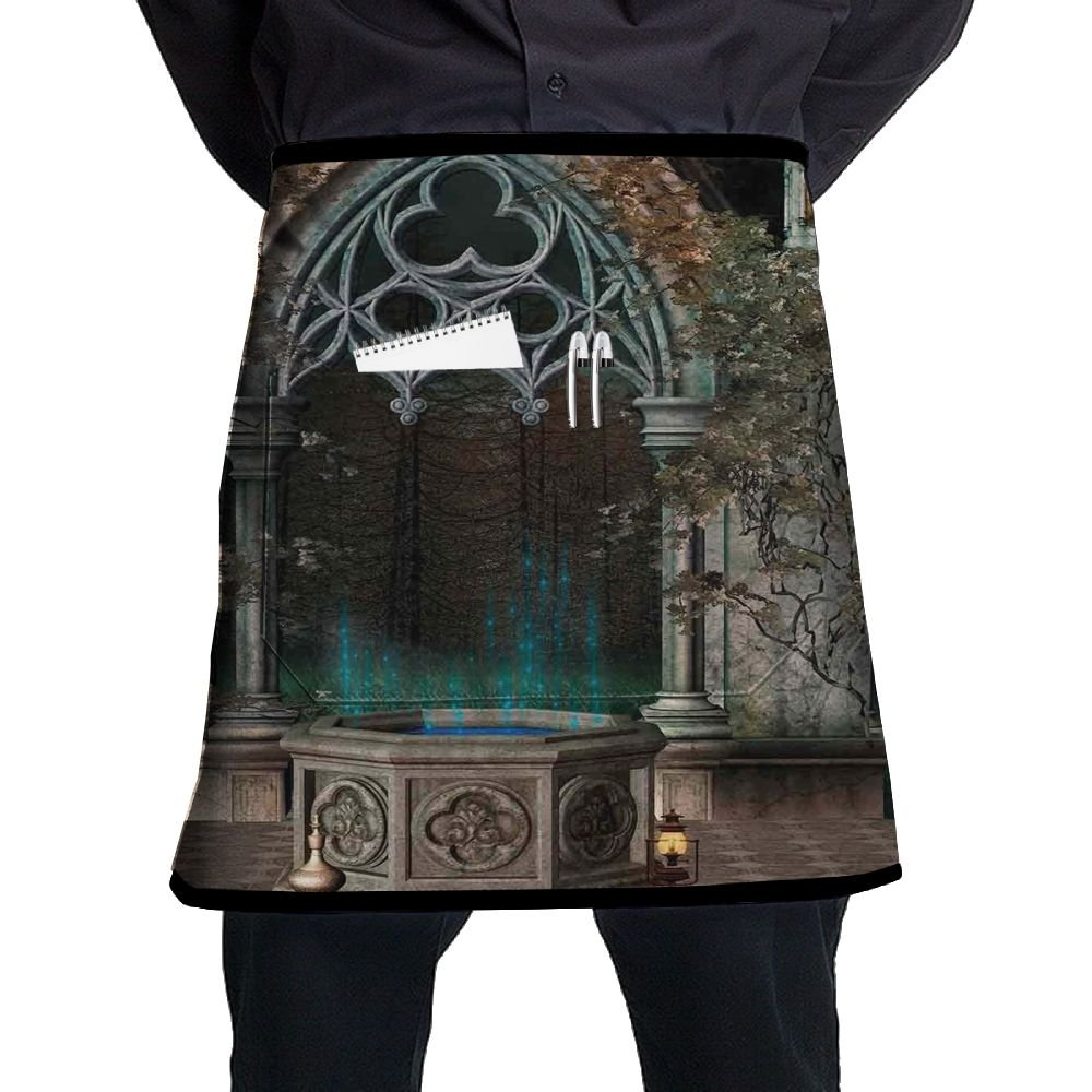 Guiping Mystical Patio With Enchanted Wishing Well Ivy On Antique Gateway To Magical Forest Kitchen Apron With Pockets For Men And Women