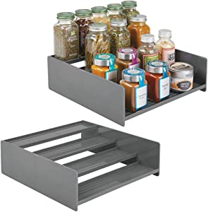 mDesign Plastic Kitchen Spice Bottle Rack Holder, Food Storage Organizer for Cabinet, Cupboard, Pantry, Shelf - Holds Spices, Mason Jars, Baking Supplies, Canned Food, 4 Levels, 2 Pack - Charcoal Gray
