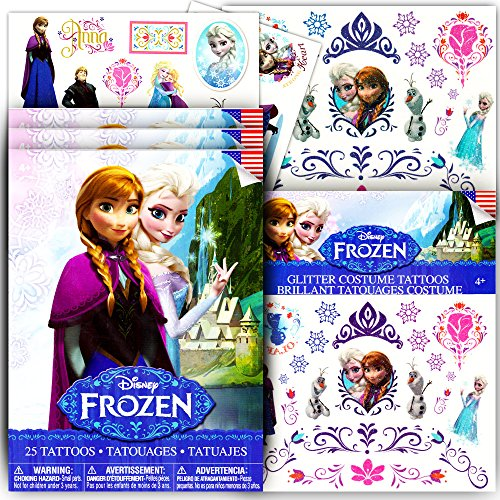 Disney Frozen Temporary Tattoos Dress Up Costume Set -- Over 110 Tattoos, Includes Glitter Tattoos! (Frozen Toddler Costume)