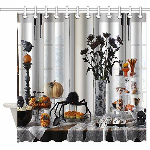 [Luckcac 72 x 72 Inch Shower Curtain Custom, Awesome Halloween Decorating Ideas Happy Halloween House Decorations] (Customs Ideas For Halloween)