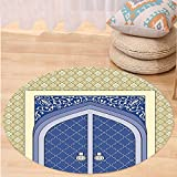 Kisscase Custom carpetMoroccan Decor Medieval Door with Ottoman Architecture Persian Influences Islamic Culture Design for Bedroom Living Room Dorm Blue Beige