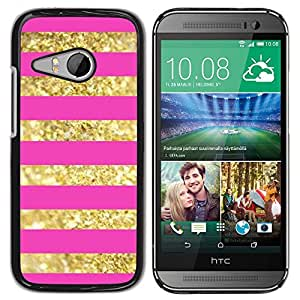 Oro Líneas Patrón Bling Pink Glitter - Metal de aluminio y de plástico duro Caja del teléfono - Negro - HTC ONE MINI 2 / M8 MINI