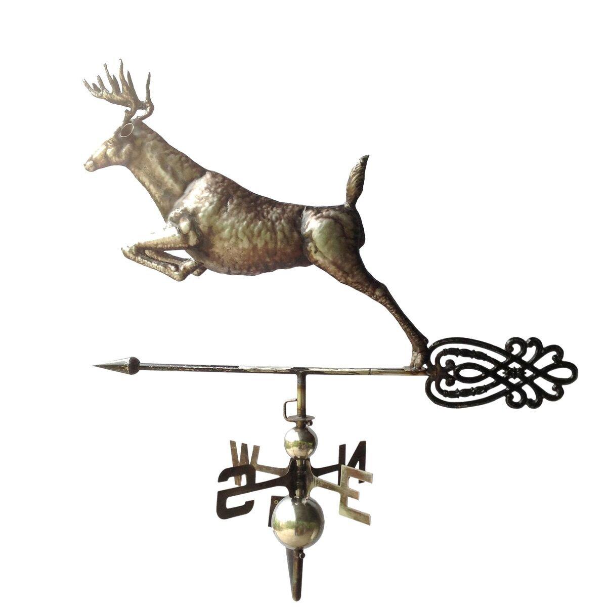 Backyard Expressions 910129 100% Steel Leaping Deer Weathervane, Medium, Silver