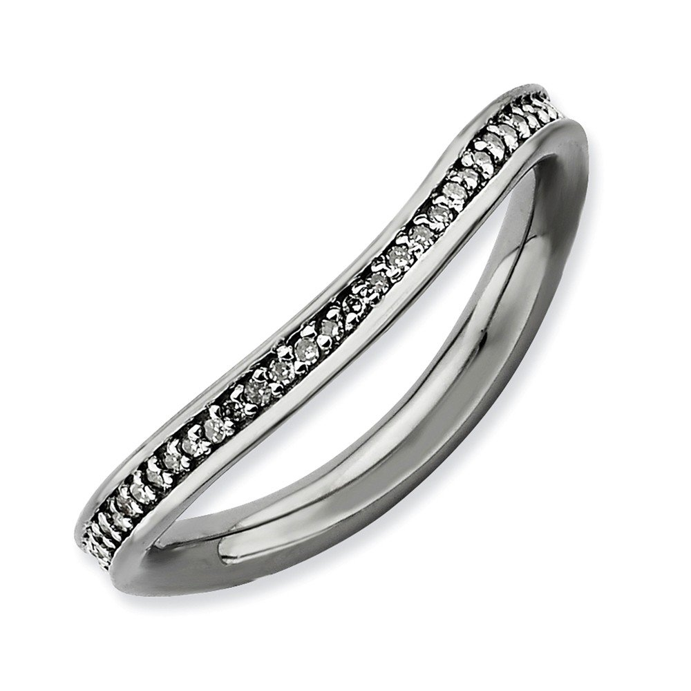Roy Rose Jewelry Sterling Silver Stackable Expressions & Diamonds Black-plated Wave Ring Size 9