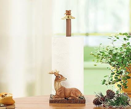 BOBE Shop- Papel Higiénico Marco Creativo Pastoral Bosque Deer Resina Cocina Papel Toalla Caja Rodillo