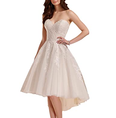 Fishlove 2017 Sweetheart Vestidos De Novia High Low Lace Bridal Wedding Dresses W28