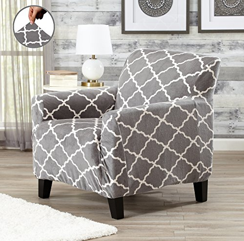 Modern Velvet Plush Strapless Slipcover. Form Fit Stretch, Stylish Furniture Shield / Protector. Magnolia Collection Strapless Slipcover by Great Bay Home Brand. (Chair, Grey)
